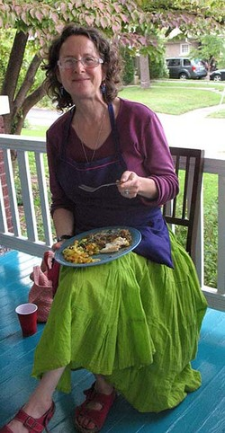 Robin Rainbow Gate enjoying Authentic Indian Cuisine at a class celebration meal